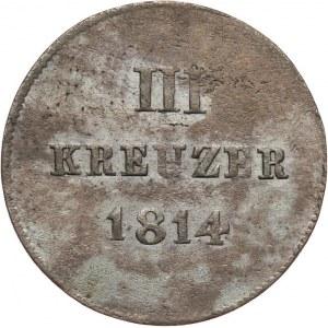 Niemcy, Nassau, Fryderyk August i Fryderyk Wilhelm, 3 krajcary 1814.