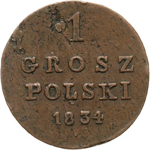 Królestwo Polskie, Mikołaj I 1825-55, grosz polski 1834 I-P, Warszawa