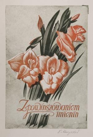 Edward KUCZYŃSKI  (1905-1958), Karta imieninowa - projekt, ok. 1950