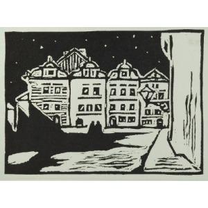Józef TOM (1883-1962), Rynek w małym miasteczku, ok.1930