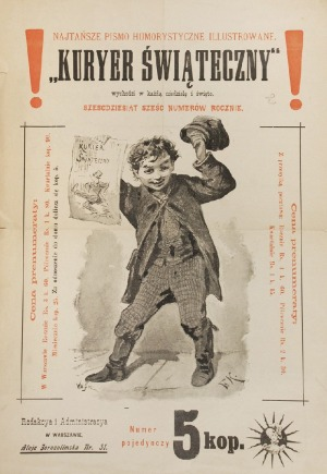 """Franciszek KOSTRZEWSKI (1826-1911), Ulotka reklamowa """"Kuriera Codziennego"""", 1897"""