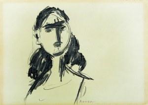 Zygmunt Józef Menkes (1896-1986), PRACA DWUSTRONNA [PORTRET MŁODEJ KOBIETY] NA ODWROCIU [SZKIC-SCENA RODZAJOWA], L. 50-70.