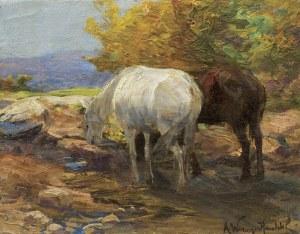 Wierusz-Kowalski Alfred, KONIE U WODOPOJU, OK. 1905