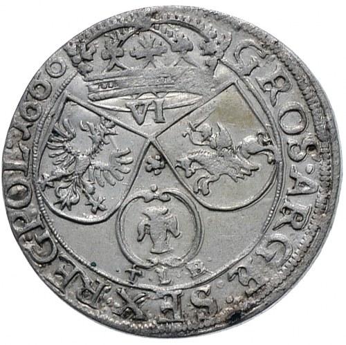 Jan II Kazimierz, szóstak 1660, Bydgoszcz. Rzadka odmiana - TLB pod herbem Wazów.