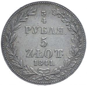 Zabór rosyjski, Mikołaj I, 3/4 rubla 5 złotych 1841 MW, Warszawa