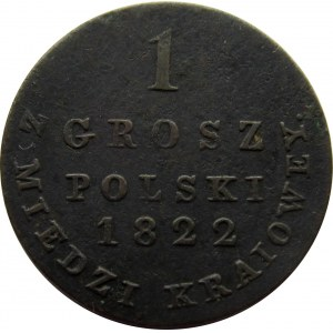 Aleksander I, 1 grosz 1822 z miedzi krajowej
