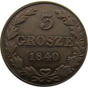 Mikołaj I, 3 grosze 1840 MW, Warszawa - ładne!
