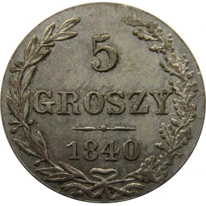 Mikołaj I, 5 groszy 1840 MW, Warszawa - bardzo ładne!