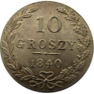 Mikołaj I, 10 groszy 1840 MW, Warszawa - mennicze!