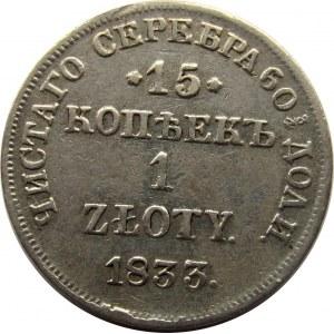 Mikołaj I, 15 kopiejek/1 złoty 1833 HG, Petersburg