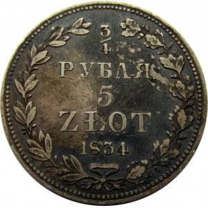 Mikołaj I, 3/4 rubla/5 złotych 1834 MW, Warszawa