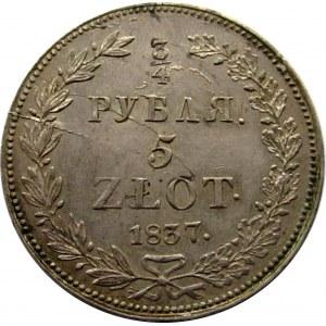Mikołaj I, 3/4 rubla/5 złotych 1837 HG, Petersburg