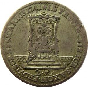August III Sas, dwugrosz wikariacki 1741, Drezno