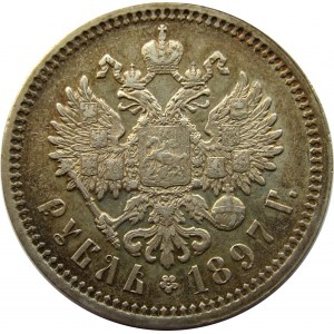 Mikołaj II, 1 rubel 1897 Ag, Petersburg