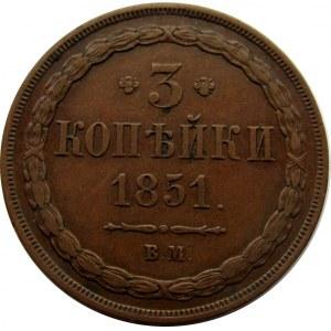 Mikołaj I, 3 kopiejki 1851 B.M., Warszawa
