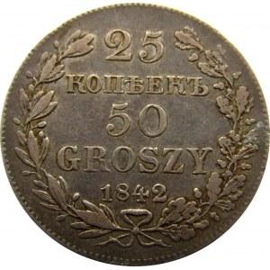 Mikołaj I, 25 kopiejek/50 groszy 1842 MW, Warszawa