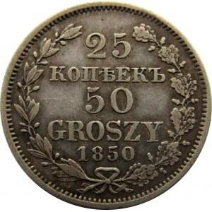 Mikołaj I, 25 kopiejek/ 50 groszy 1850 MW, Warszawa