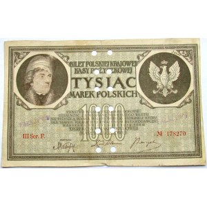 Polska - II RP, 1000 marek 1919, III seria F, FALSYFIKAT