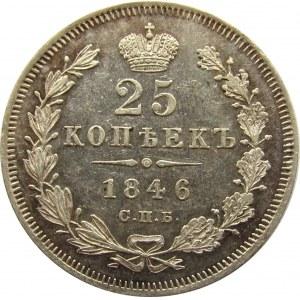 Rosja, Mikołaj I, 25 kopiejek 1846 PA, Petersburg