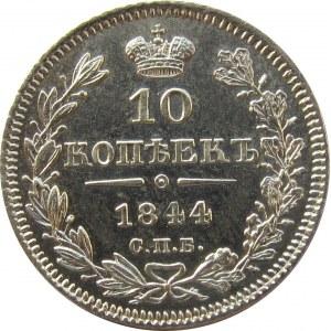 Rosja, Mikołaj I, 10 kopiejek 1844 KB, Petersburg, rzadszy rocznik