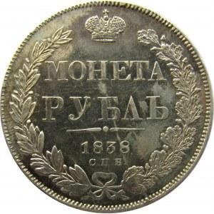 Rosja, Mikołaj I, 1 rubel 1838 HG, Petersburg, RZADKI - R!