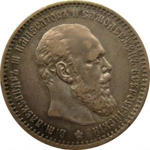 Rosja, Aleksander III, rubel 1891 AG, Petersburg, ładny
