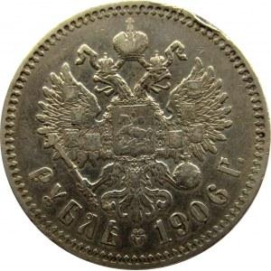 Rosja, Mikołaj II, 1 rubel 1906 EB, Petersburg, rzadki rocznik