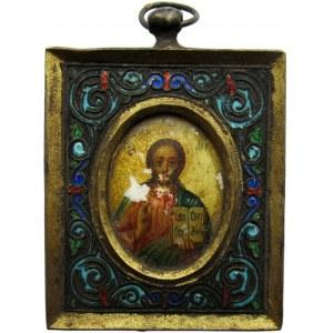 Rosja, XIX wiek, Ikona podróżnicza, srebro emalia