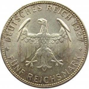 Niemcy, Republika Weimarska, 5 marek 1927 F, Stuttgart, 450 lat Uniwersytetu w Tubingen, UNC