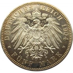 Niemcy, Meklemburgia-Schwerin, 5 marek 1904 A, Berlin, Złote Gody, UNC