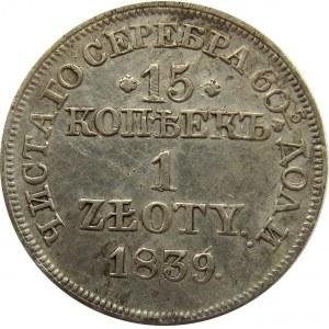 Mikołaj I, 15 kopiejek/1 złoty 1839 MW, Warszawa, ładne