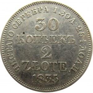 Mikołaj I, 30 kopiejek/2 złote 1835 MW, Warszawa z duchem
