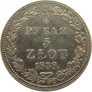 Mikołaj I, 3/4 rubla/5 złotych 1838 MW, Warszawa, PIĘKNE!