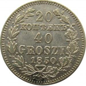 Mikołaj I, 20 kopiejek/40 groszy 1850 MW, Warszawa, rzadka odmiana!