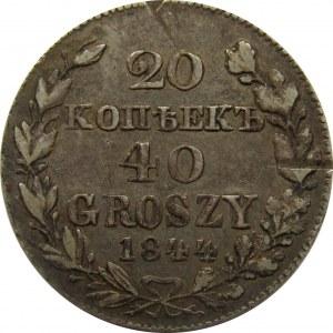 Mikołaj I, 20 kopiejek/40 groszy 1844 MW, Warszawa, bardzo rzadki rocznik