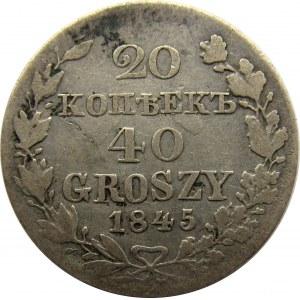 Mikołaj I, 20 kopiejek/40 groszy 1845 MW, Warszawa, rzadkie
