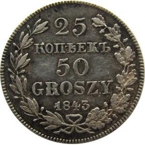 Mikołaj I, 25 kopiejek/50 groszy 1843 MW, Warszawa, rzadkie