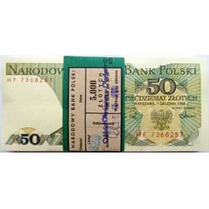 Polska, PRL, paczka bankowa 50 złotych 1988, seria HF