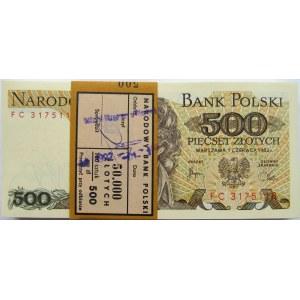 Polska, PRL, paczka bankowa 500 złotych 1982, seria FC
