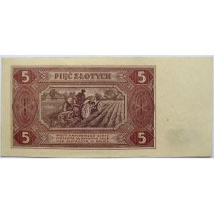 Polska, RP, 5 złotych 1948, seria B, piękne i rzadkie