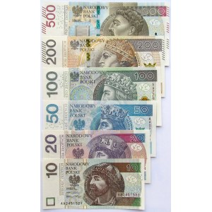 Polska, III RP, Zestaw banknotów 2012-2016, seria AA, UNC