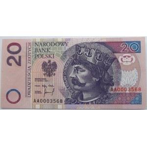 Polska, III RP, 20 złotych 1994, seria AA 000...., UNC