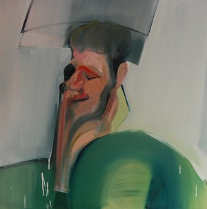 Cezary Bednarczyk - Bez tytułu, z cyklu Portret z obrazem w tle, 2018
