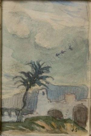 Jan Stanisławski (1860-1907), Pejzaż włoski-karta ze szkicownika(praca dwustronna)