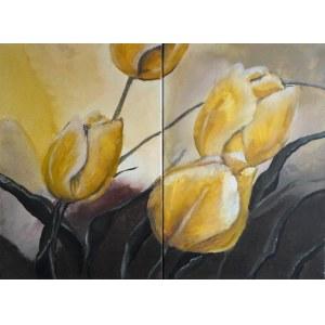 Halszka Maj, Tulipany, dyptyk, 2018