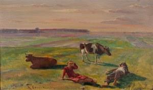 Kazimierz Lasocki (1871 Gąbin – 1952 Warszawa), Na łące z krowami, 1934 r.