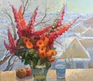 Jerzy Pogorzelski (1926 Grodno – 2003 Czestochowa), Kwiaty w oknie