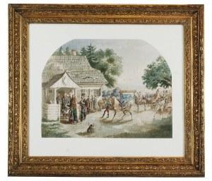 Józef BRANDT (1841-1915), Wyjazd młodego Paska na wojnę, przed którą odbiera błogosławieństwo ojcowskie, 1856
