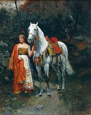Antoni PIOTROWSKI (1853-1924), Dziewczyna z koniem, 1885