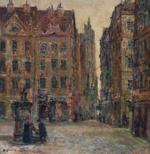 Konstanty MACKIEWICZ (1894-1985), Rynek z katedrą gotycką w tle